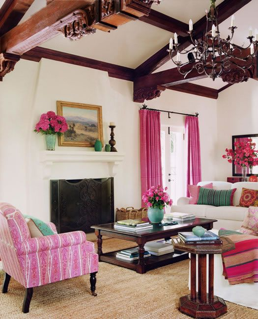 pink and teal accents.Decor, Ideas, Living Rooms, Colors, Livingroom, Schuyler Samperton, Interiors Design, Pink Room, House