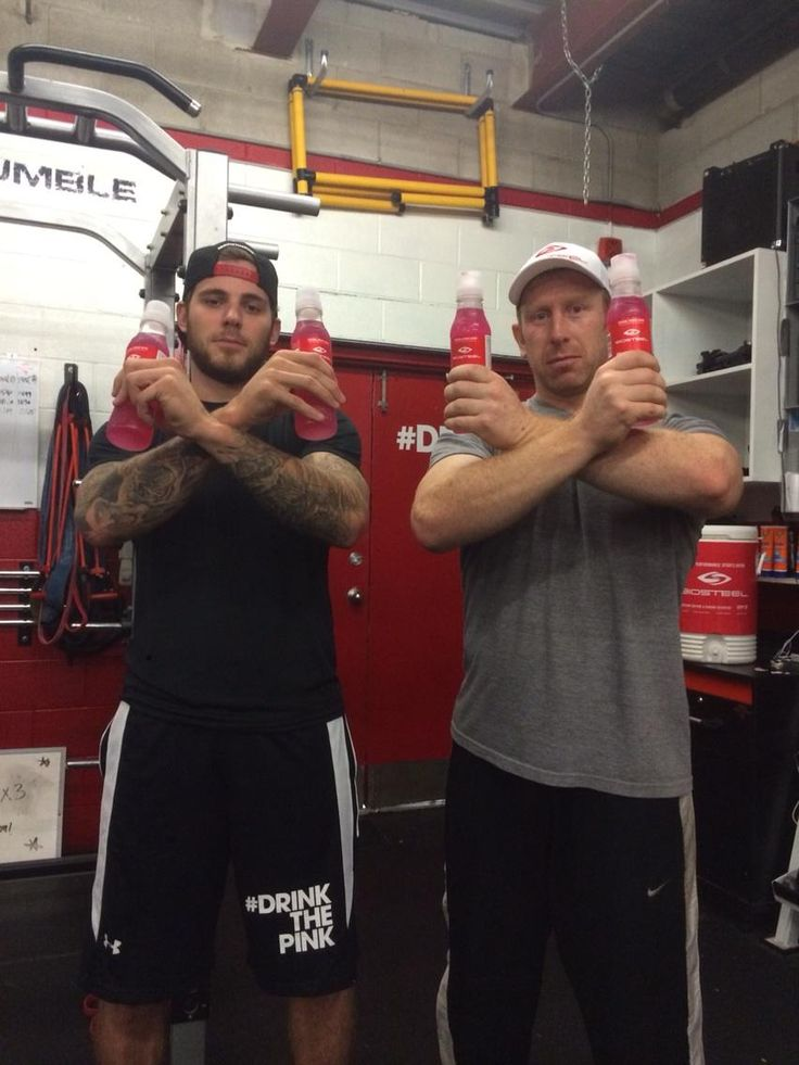 "#TeamBioSteel's Tyler Seguin tweets:  ""Pretty serious here at @BioSteelSports hockey camp with @M_Nichol @DezBryant #TheuptheX #DrinkthePink"""