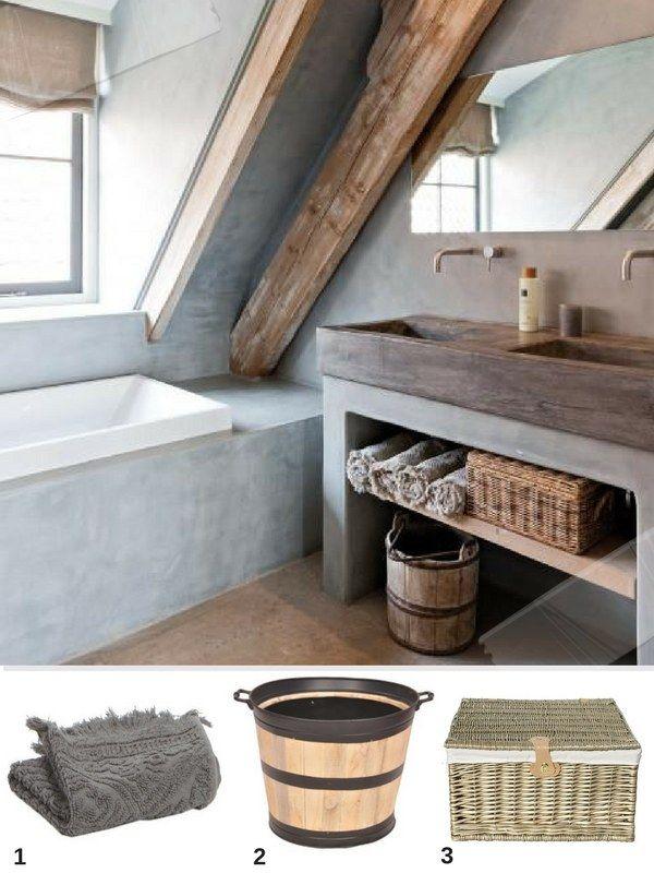 Idée déco salle de bain béton ciré et bois