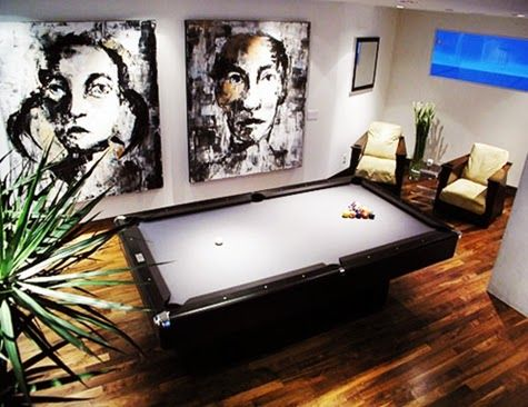 Modern Billiard Room Design with Abstract Painting and Wood Tile Floor Ideas