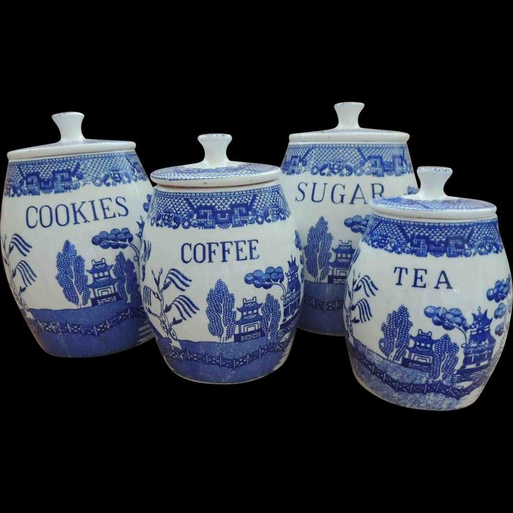 New Post blue tea and coffee canisters