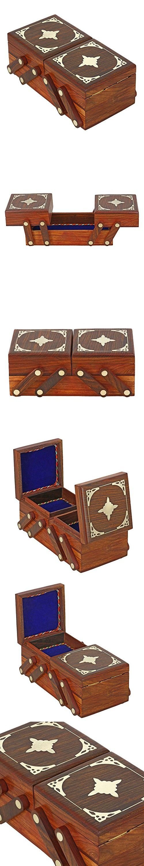Handmade Jewelry Box Wooden 3 in 1 Brass Inlay Decor Indian Gift for Women