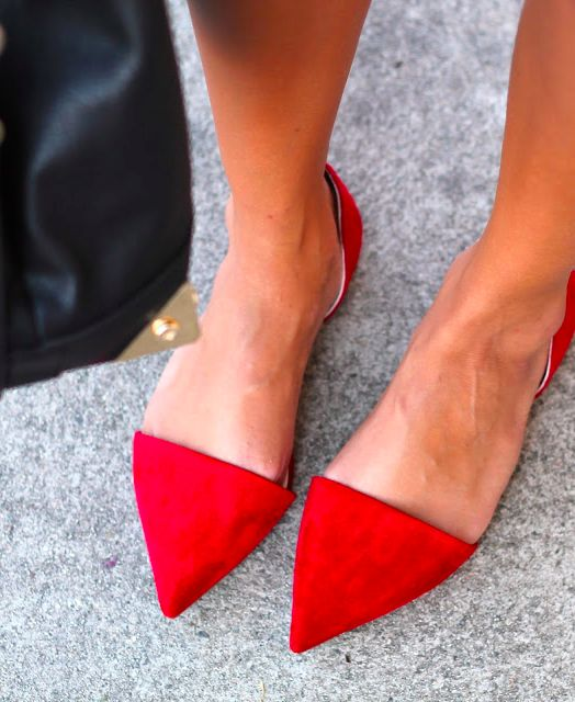 Pointy red flats.