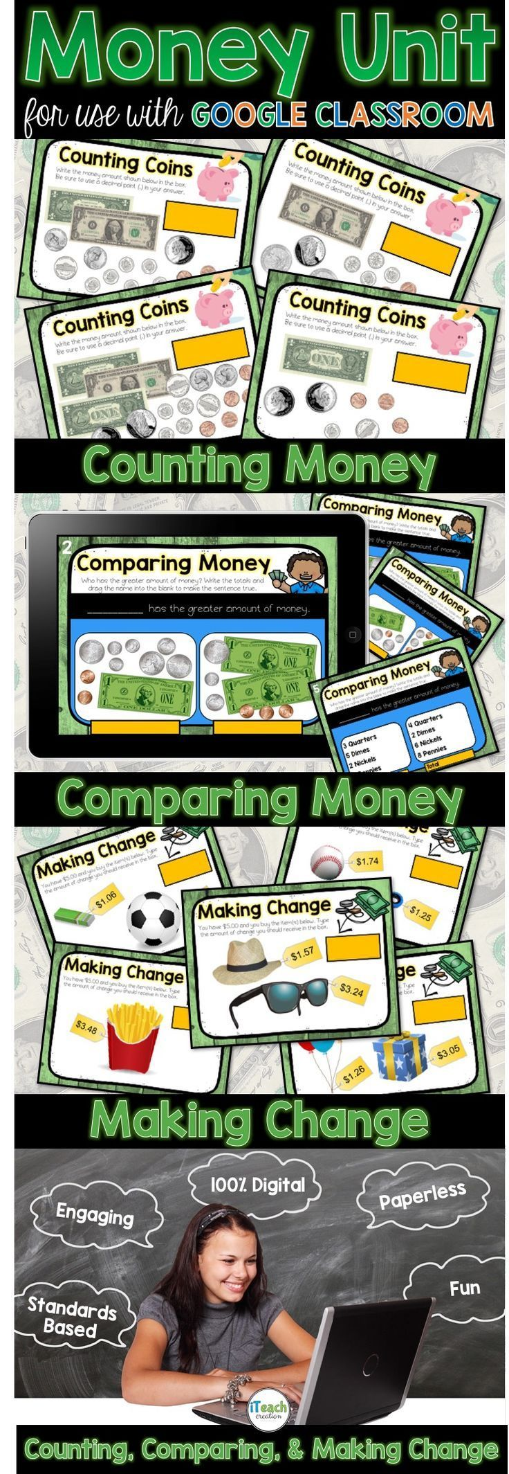 Money Activities for use with Google Classroom Digital Resources Money Unit