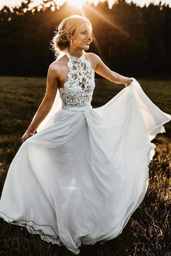 Simple A-Line Halter Sleeveless Chiffon Long Beach Summer Wedding Dress with Lace OKH89