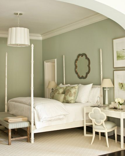 A palette of light blue and beige-y colors makes this master bedroom both restful and peaceful. The wall color is Farrow and Ball # 22 Light Blue. - love the desk next to the bed...vanity?