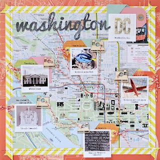 Washington, Lynn Ghahary - Love the map background, and how the pictures are related to the places!  Also like the use of camera die cuts, tags and mappy coral border print, and how the yellow striped borders nicely echo the bakers twine stripes.