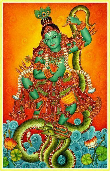 Kerala murals.painting  Kaliyanartanam/Kaliyamardanam