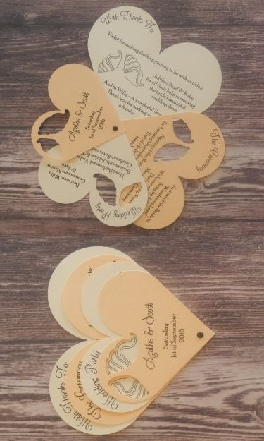 Seashell Design Heart Wedding Programme