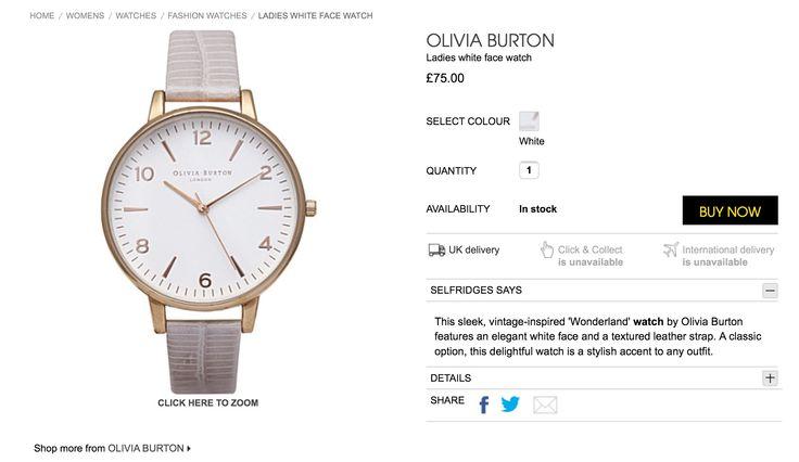 Olivia burton watch white strap gold face