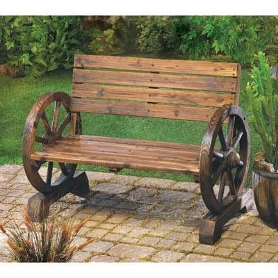 Laze in the shade after a long day; this rustic bench is right at home on patio, porch or lawn. Sturdy love seat has ample seating for two, with quaint wagon wheel armrests at either end. It's country