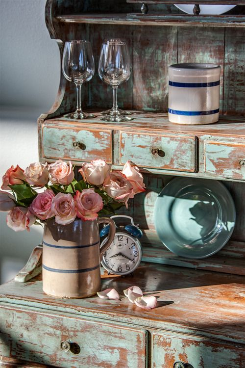 An amazing vintage cupboard with flowers