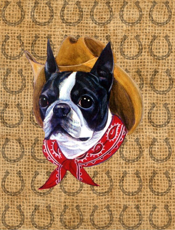 Boston Terrier Dog Country Lucky Horseshoe Wall Or Door Hanging Prints,  Multi