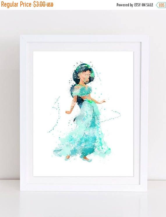 70%OFF Princess Jasmine Watercolor Poster Disney Poster