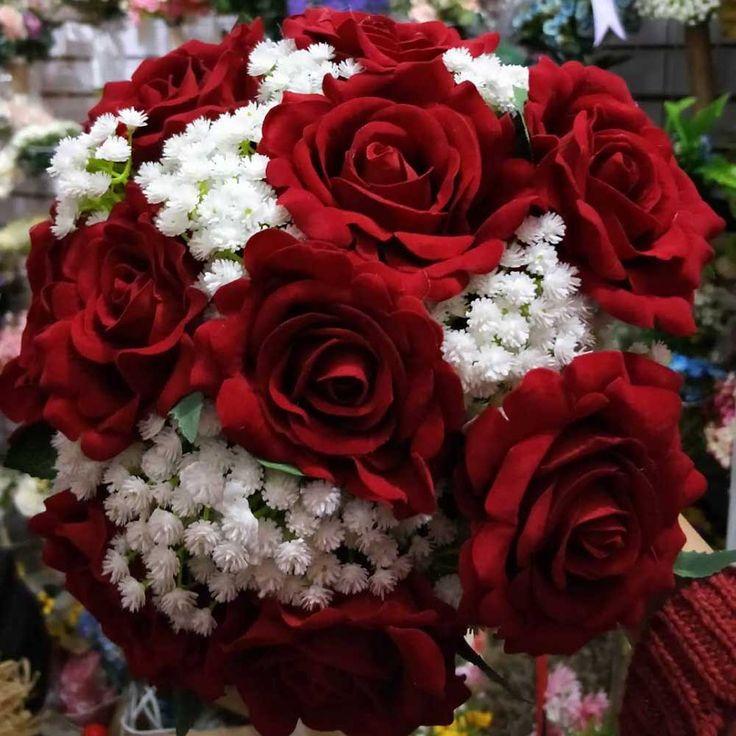 2017 Imágenes Reales Rojo <font><b>Artificial</b></font> Ramo De La Boda Accesorios de La Boda Hermosas Flores de La Boda Ramos de Novia #Imágenes, #Reales, #Rojo, #-font-b-Artificial-b--font-, #Ramo, #Boda, #Accesorios, #Hermosas, #Flores, #Ramos, #Novia