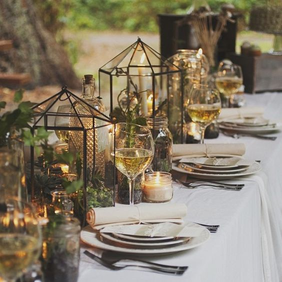 Glam geometric terrarium wedding ideas