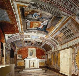 """Chapel of Madonna Bocciata. Includes a fresco by Pietro Cavallini. """"Madonna della Bocciata"""" means """"Mary's swollen face"""". An old legend says that Mary's face became distorted after a drunken soldier threw a bowl into the image."""