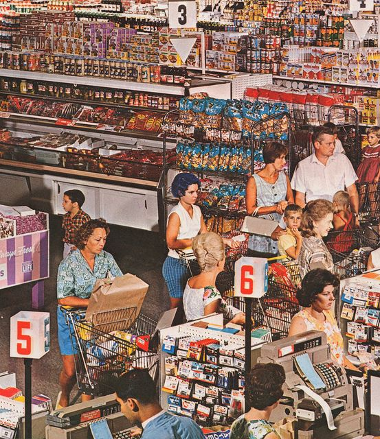 1966 supermarket -- long lines because the cash registers were slow; push keys for each item, and the clerk had to write down your social security #, drivers license # and address on the check.