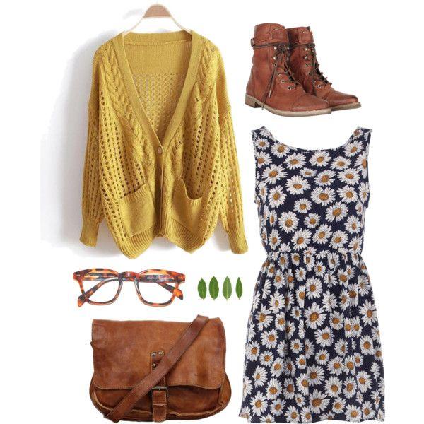 Navy dress w/ daisy print, Mustard cardi, brown combat boots, brown messenger bag