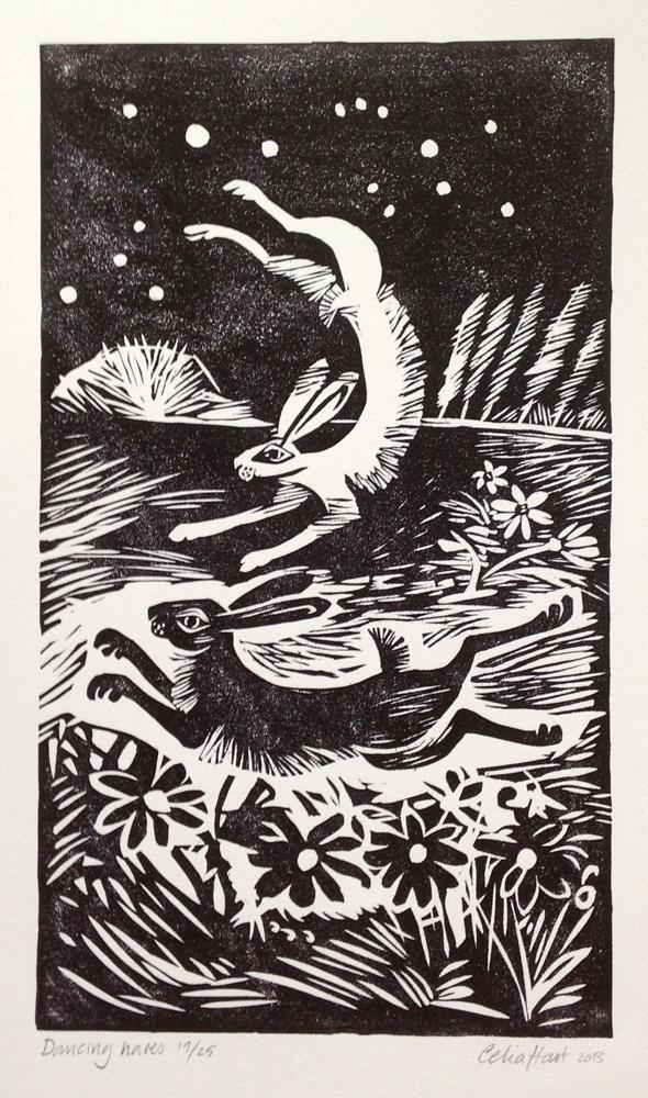 by Celia Hart, nature, printmaking, linocut, woodcut, lino, rabbit, dancing hares, english countryside, illustration, art