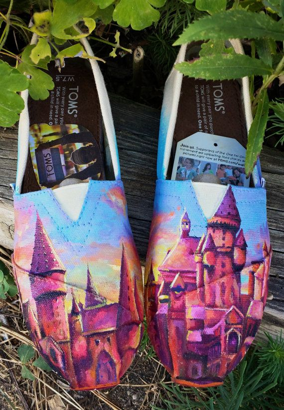 Made to Order Custom Painted TOMS Harry Potter by TheMermaidsChest, These are incredible, but $175 is a pretty penny.