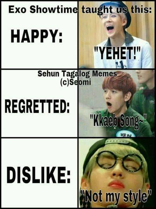 HAHAHA thanks exo's showtime! Sehun Yehet. Baekhyun Kkaepsong. Kris Not my style.