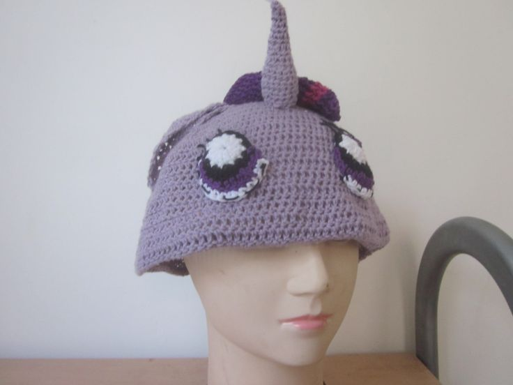 Unicorn hat, soft purple unicorn hat, inspried by twilight sparkle of my little pony by knightwhosaidknit on Etsy