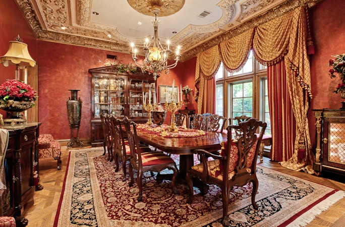 red and gold dining room | Elegant red & gold... | Formal Dining Rooms | Pinterest