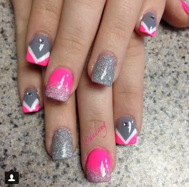 Pink and silver acrylic nails