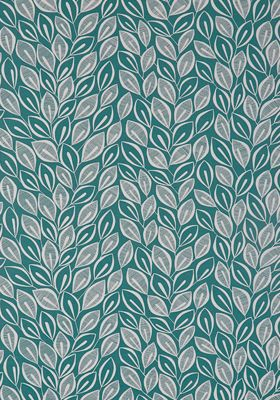 Leaves Teal with White Wallpaper
