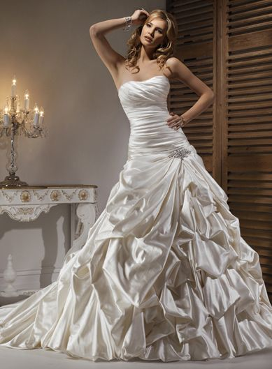 Ball Gown Wedding Dresses:Alabaster Tucked Ball Gown Strapless Chapel Train Satin Wedding