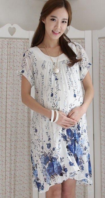 blue pregnant Clothes Fashion
