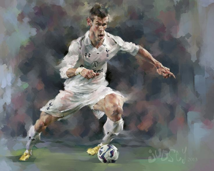 This is a digital portrait/ caricature painting of football (soccer) player Gareth Bale by Lindsey Lively.  Check out her facebook page to see more artwork: www.facebook.com/lindseylivelyart