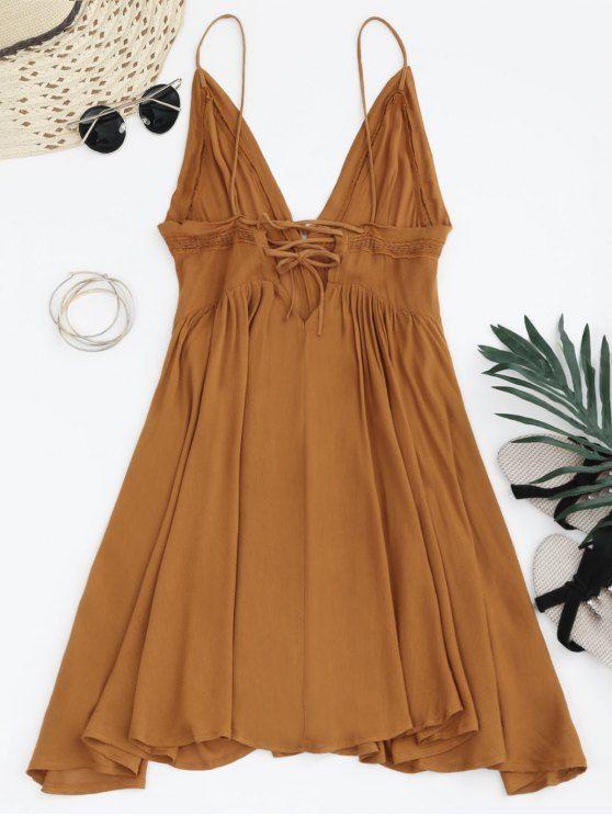 Plunge Low Back Lace Up Sundress - LIGHT BROWN S