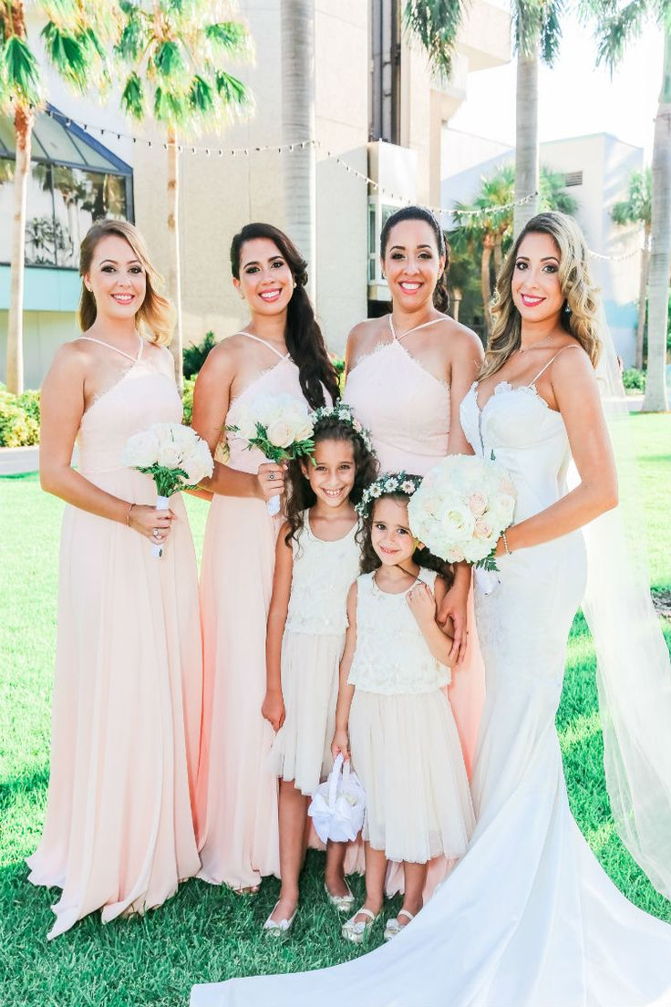 Blush bridesmaid dresses and white flower girl dresses (Scribbled Moments Photography, Inc.)