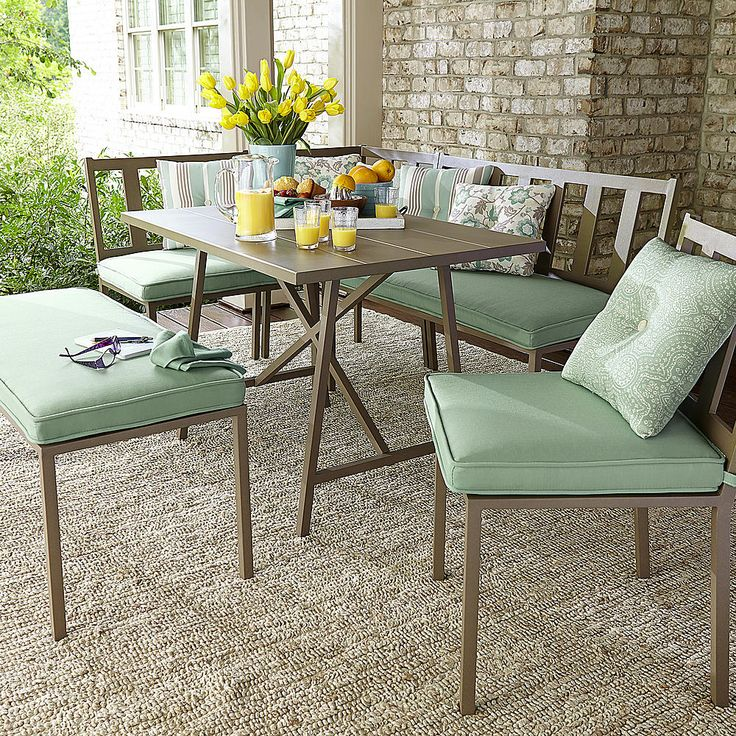 Jaclyn Smith Carrabelle 6 Piece Dining Set Outdoor Living Patio Furniture Dining Sets