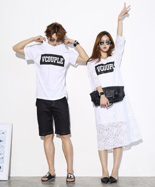 ペアルック カップル 夏 tシャツ レースワンピース ブランド ホワイト 旅行用 おしゃれ 韓国♡♡