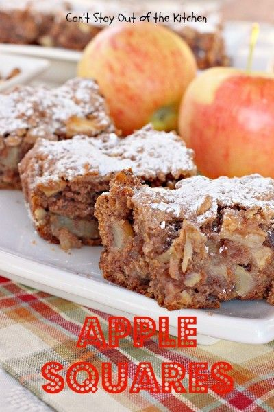Apple Squares - lovely for #breakfast or #dessert. #apples - via Can't Stay Out of the Kitchen