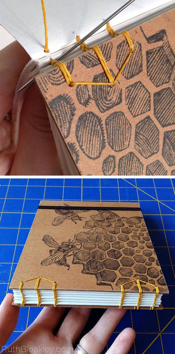 Honeybee #Sketchbook with watercolor paper that lays flat when opened - great gift for a gardener or gift for an artist #bookbinding