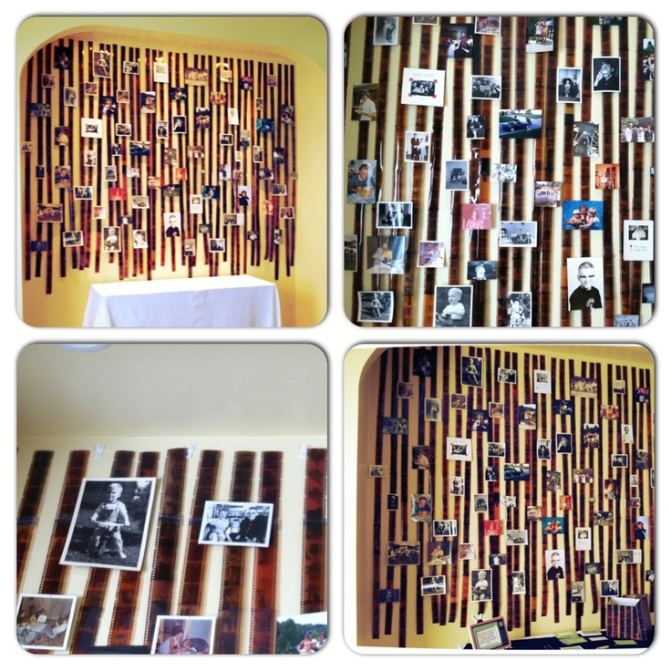 DIY: Photo Negative Photo Wall - Use small command hooks and fishing line to hang photo negative strips.  Attach photo negatives together with clear tape and use double sided tape to attach photos to the negatives.
