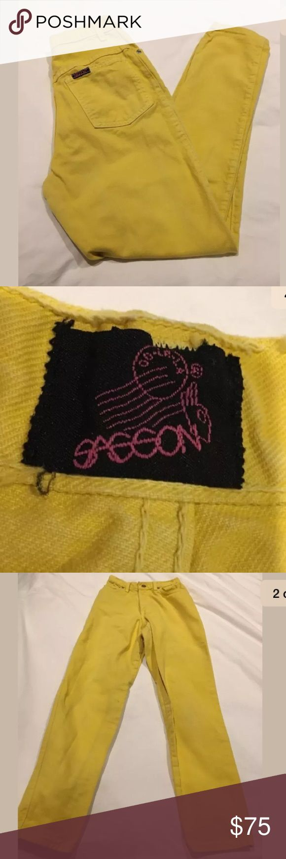 Vintage Yellow Sasson High Waist Tapered Jeans Vintage Yellow Sasson High Waist Tapered Jeans Size 7  So Stylish Vintage Sasson Jeans!  High Waist, Tapered   Yellow in color Zip Fly 5 Pocket  SASSON BRAND  Cut off for shorts or wear as is 90's hip hop  Some small stains are pictured. Sasson Jeans Jeans