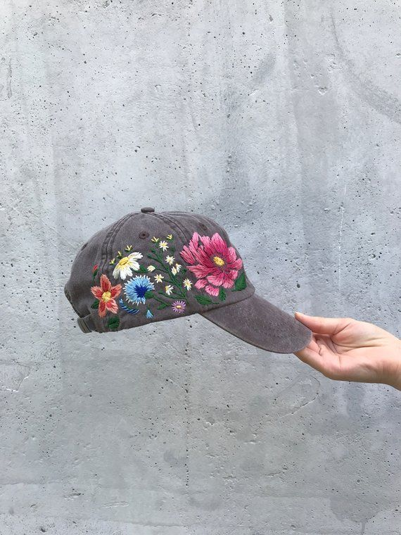 925fc5e2e3bd38 Hand Embroidered Hat / Custom Embroidered Cap /Floral hat / Colorful hat /  Botanical hat / Embroider