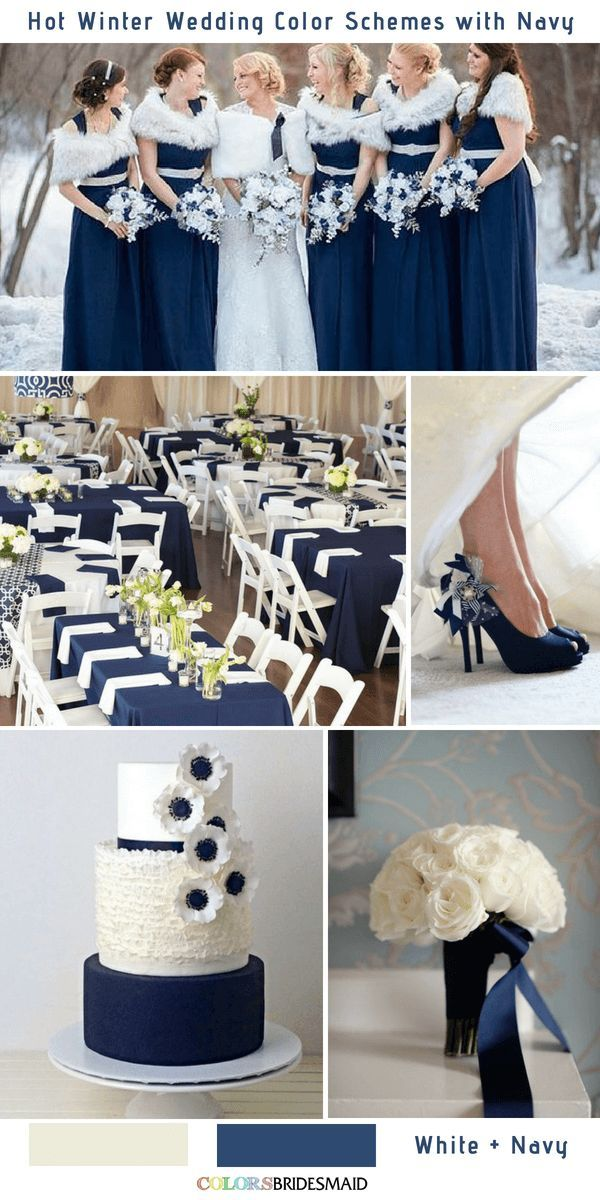 9 Gorgeous Navy Blue Winter Wedding Color Palettes With Images
