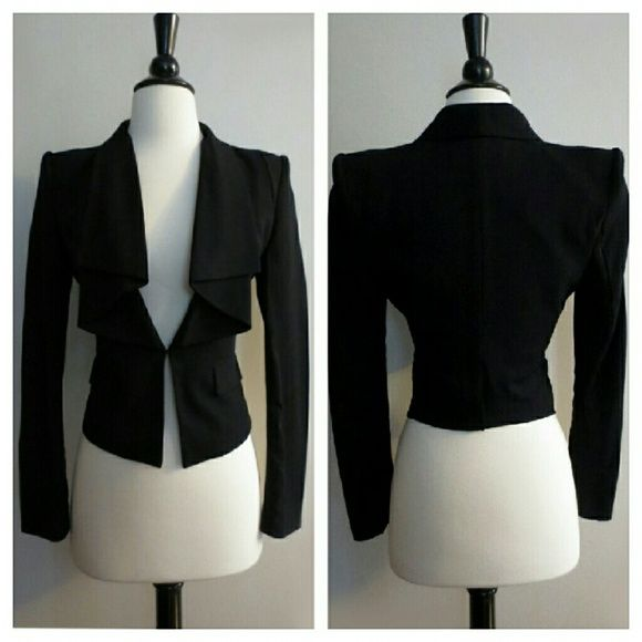 HOLD BCBGMaxazria Black Tiered Collar Blazer Like new. Perfect condition. Worn once. Padded shoulders. Clasp closure at front. Size XXS. Needs dry cleaning as it's been sitting. NEEDS A DRY CLEAN. HAS BEEN SITTING IN STORAGE.   PRICE IS FIRM. NO OFFERS PLEASE. BCBGMaxAzria Jackets & Coats Blazers