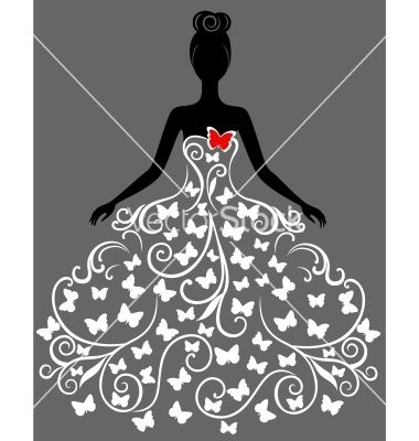 Silhouette of young woman in dress vector 1150191 - by svribalka on VectorStock�