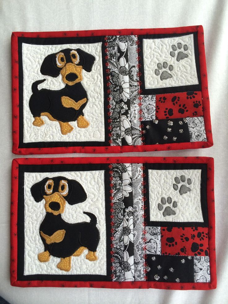 Pinned the Dachsy pic from Flavra_sm1963 board and created a mug rug pattern for my sister-in-law and niece.  Original pic was from Retirado Da Net on Flickr.