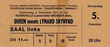 lynyrd skynyrd ~ Ticket: Concert: Queen live at the Musikhalle, Hamburg, Germany [05.12 ...