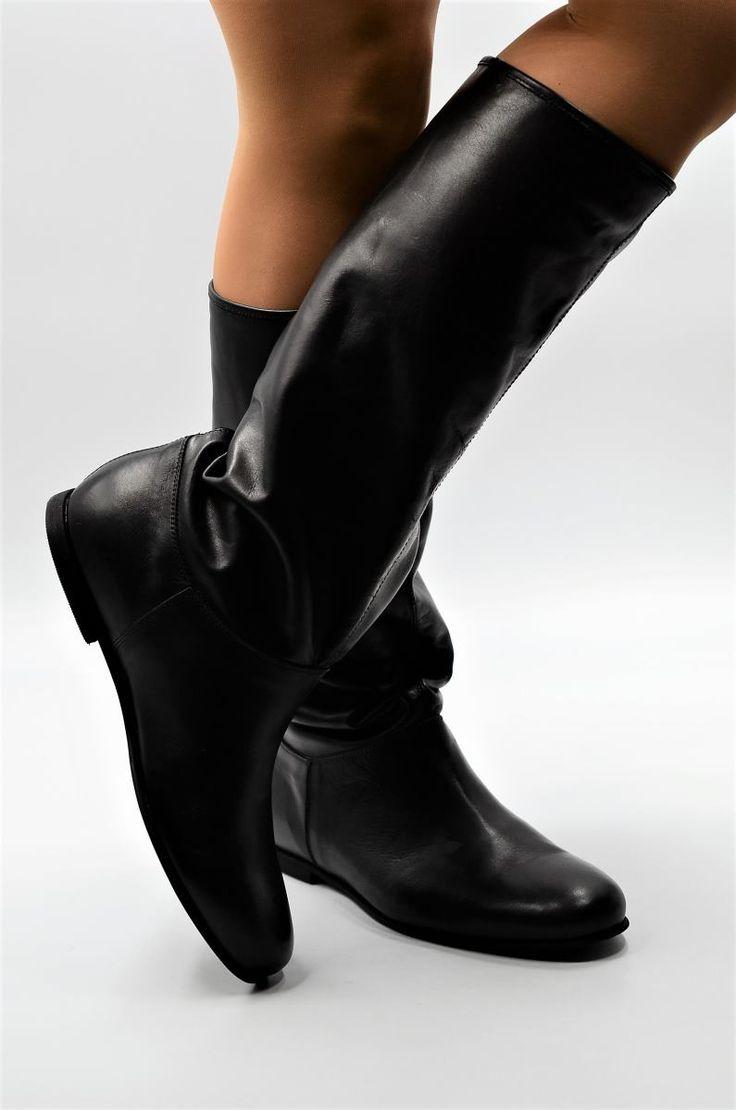 Stiefel aus dünnem Leder in schwarz für die Übergangszeit in Standard Schaftweite