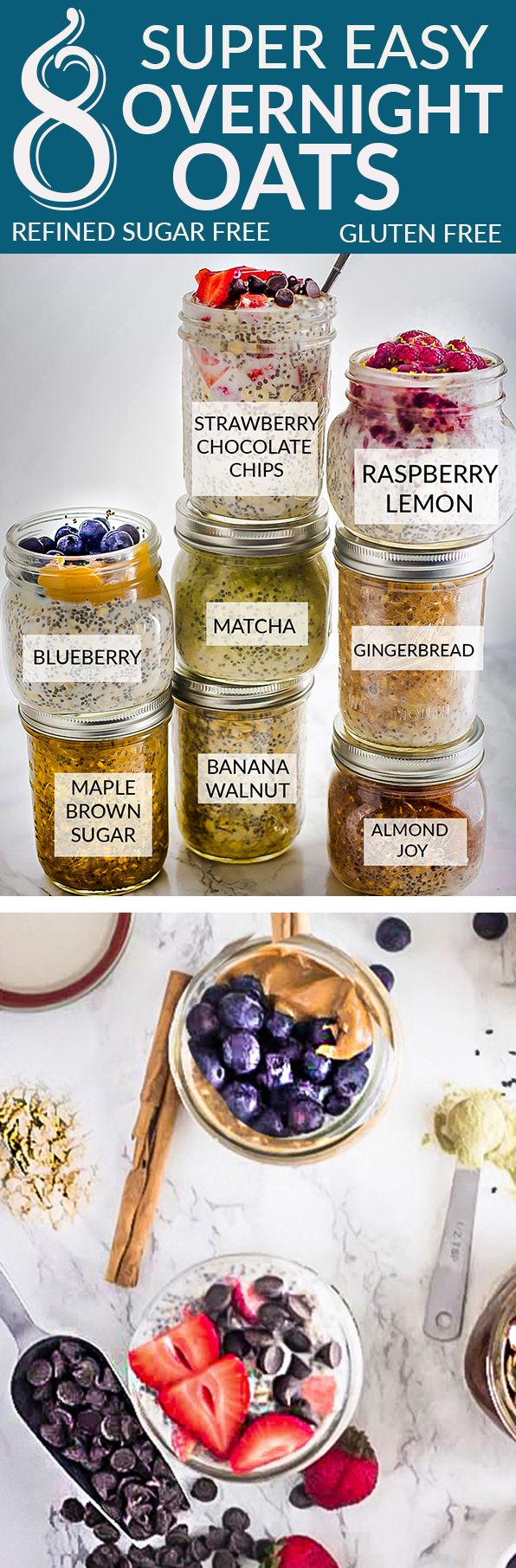 8 Healthy and delicious OVERNIGHT OATS – simple no-cook make-ahead oatmeal just perfect for busy mornings. Best of all, gluten free, refined sugar free and so easy to customize with your favorite flavors. Almond Joy, Banana Walnut, Blueberry Vanilla, Maple Brown Sugar, Matcha, Raspberry Lemon and Strawberry Chocolate. Super simple to make ahead the night before with less than 5 minutes. #overnightoats #oatmeal #breakfast #glutenfree #refinedsugarfree #recipe #healthy #nocook