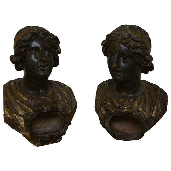 Two polychromed and gilded reliquary busts, Italy late 17th century